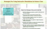 Website: Strategies for using interactive simulations in science class